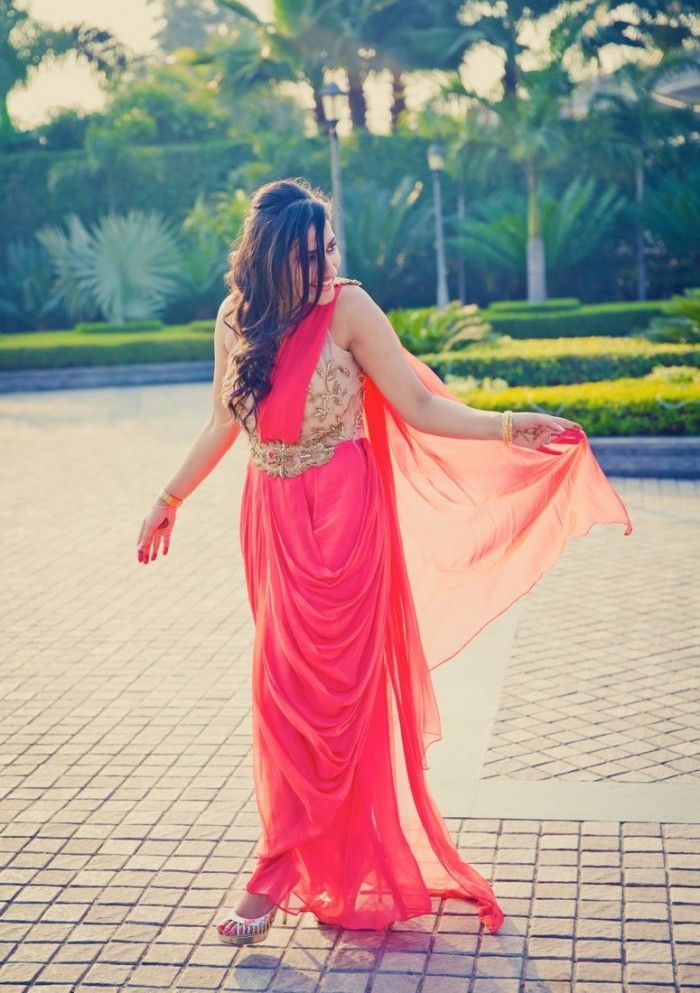 coral-gown-sari-indo-western