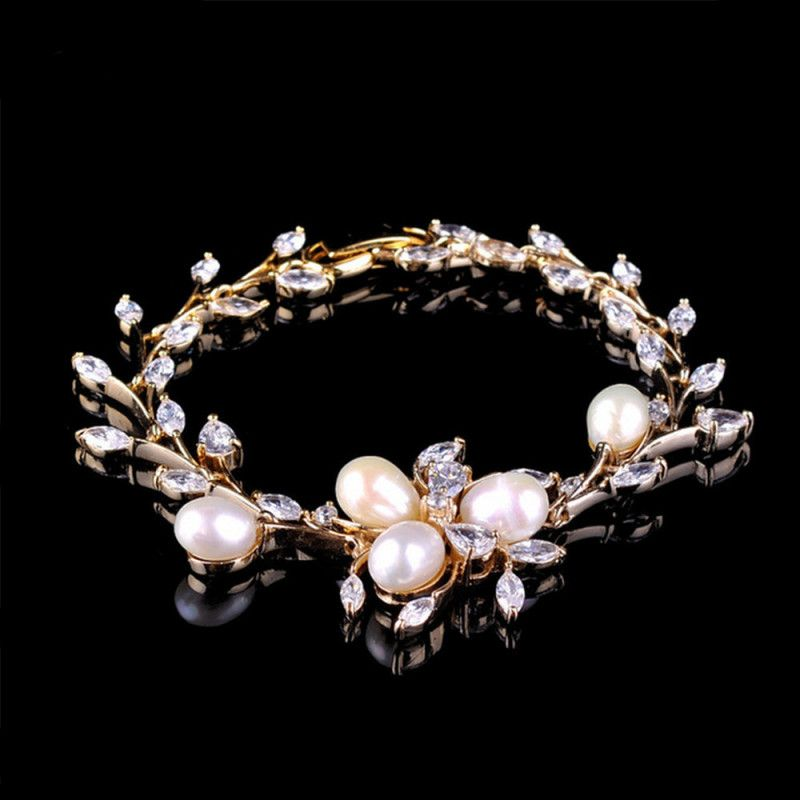 Trendy-Jewellery-Top-Quality-Shell-Pearl-Cubic-Zircon-Bracelets-Lady-s-Yellow-Gold-Plated-Wedding-Bangles