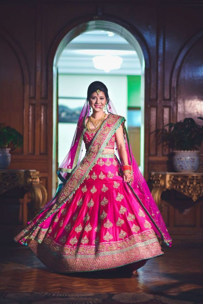 6815ff27cf85f3 Monotone lehengas will make you look even taller, so make sure to break it  with a broad border with a pop of colour in it somewhere!