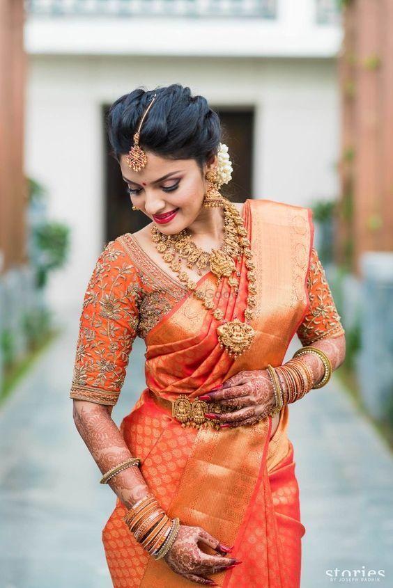 Orange and gold kanjivaram saree