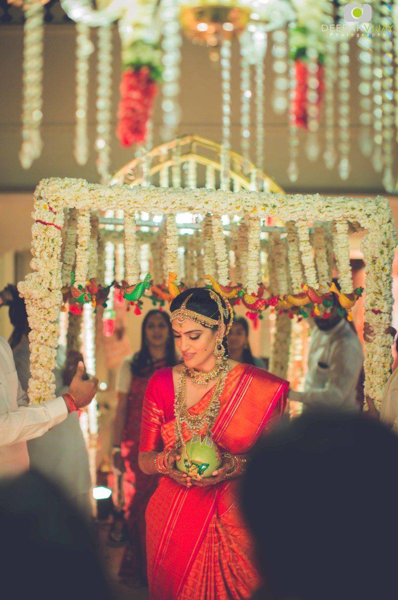 Red kanjivaram saree with self border