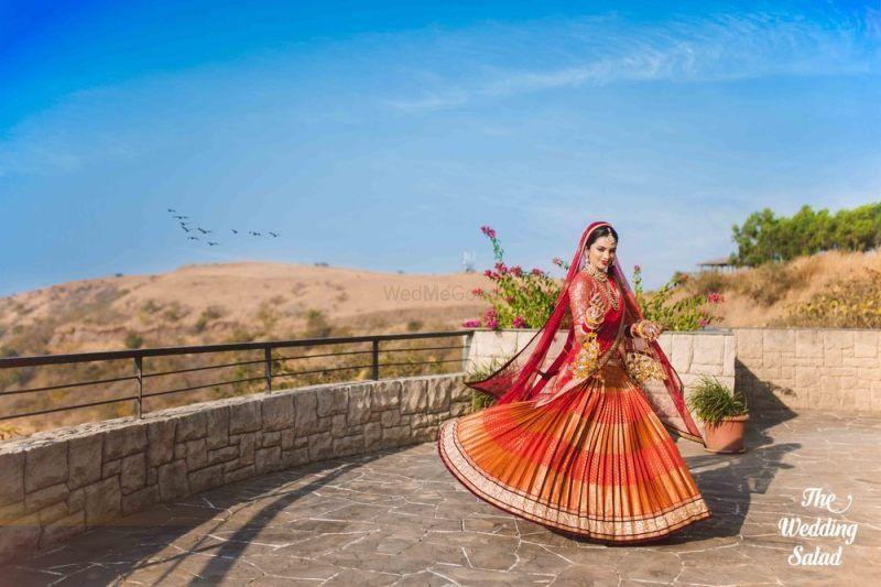 Orange Benarasi bridal lehenga
