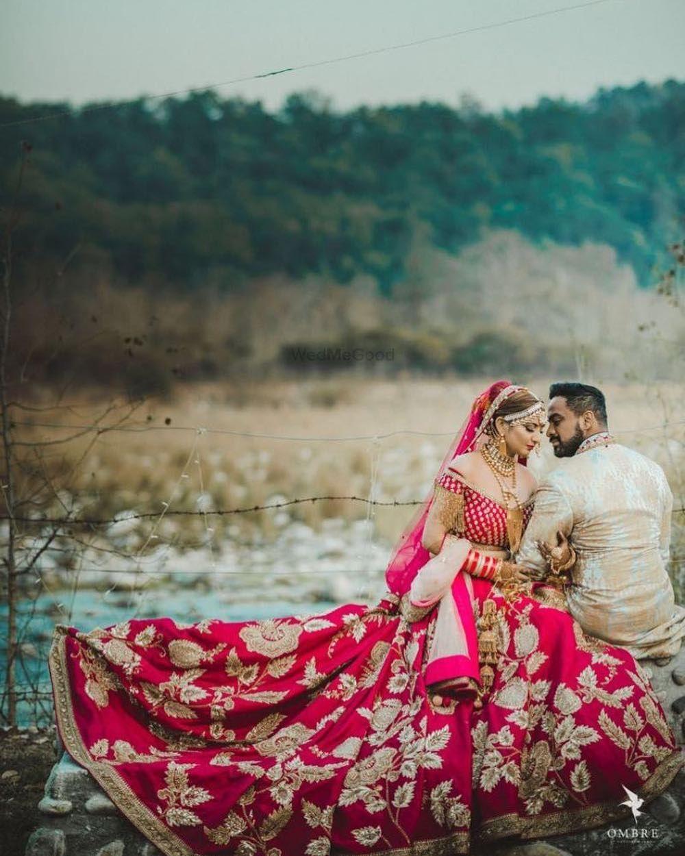 red and gold bridal lehenga