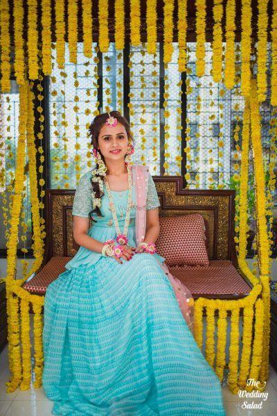 60f777b14e This Bride Who Wore A Peplum Lehenga In A Breasy Blue For Her Mehendi