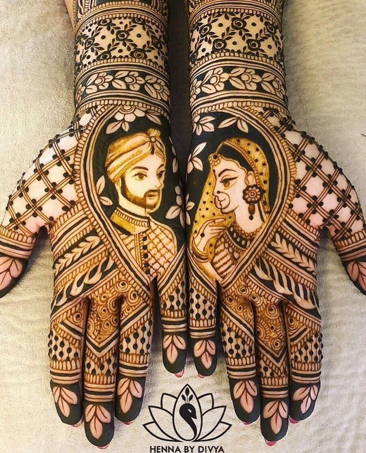 Couple portrait arabic mehndi design