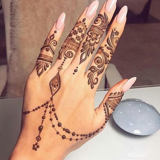 Fingertip arabic mehndi design
