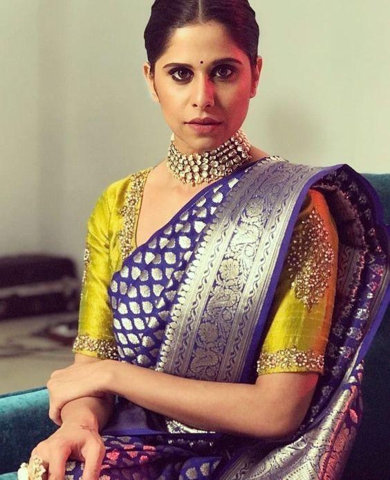 Embroidery blouse with blue Banarasi saree