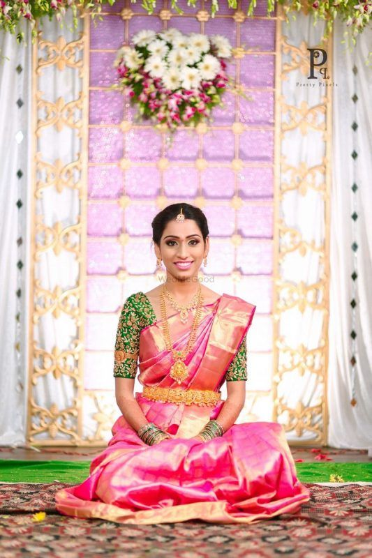 7b2a822c68 ... this south indian bride chose a pastel hued saree and paired it with  sleek diamond jewellery! Stunning, to say the least. Also, can't help but  praise ...