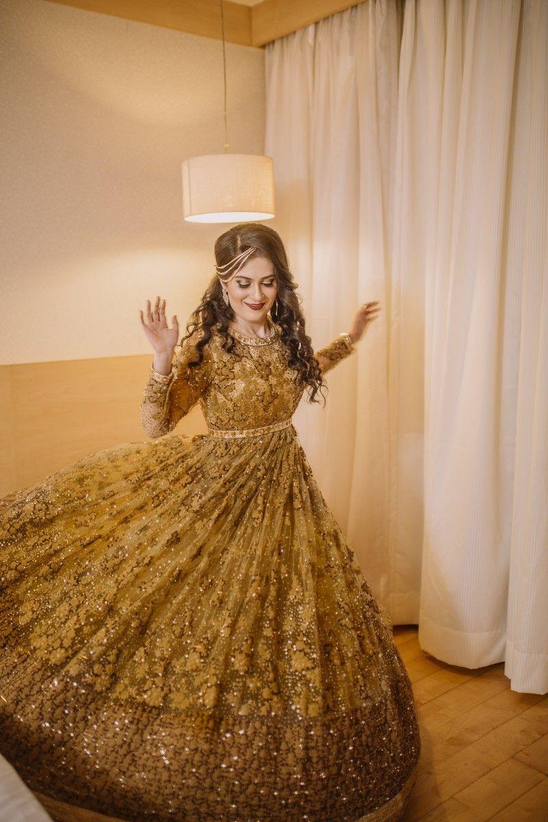 Golden Designer Anarkali Suit