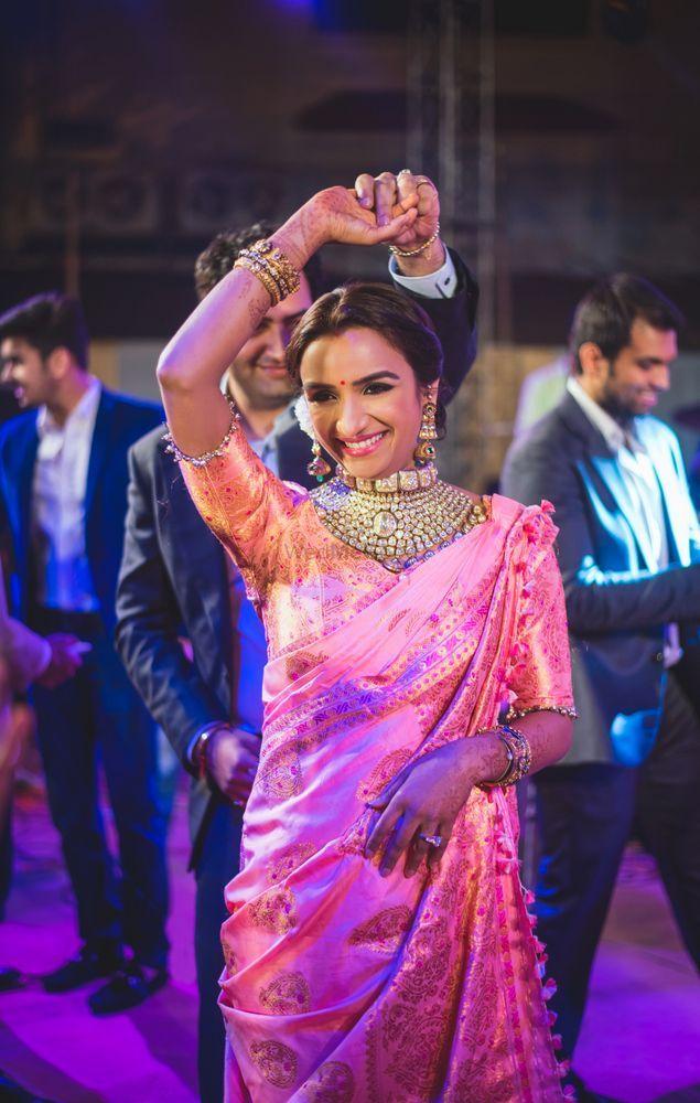 Light Pink Banarasi saree for weddings