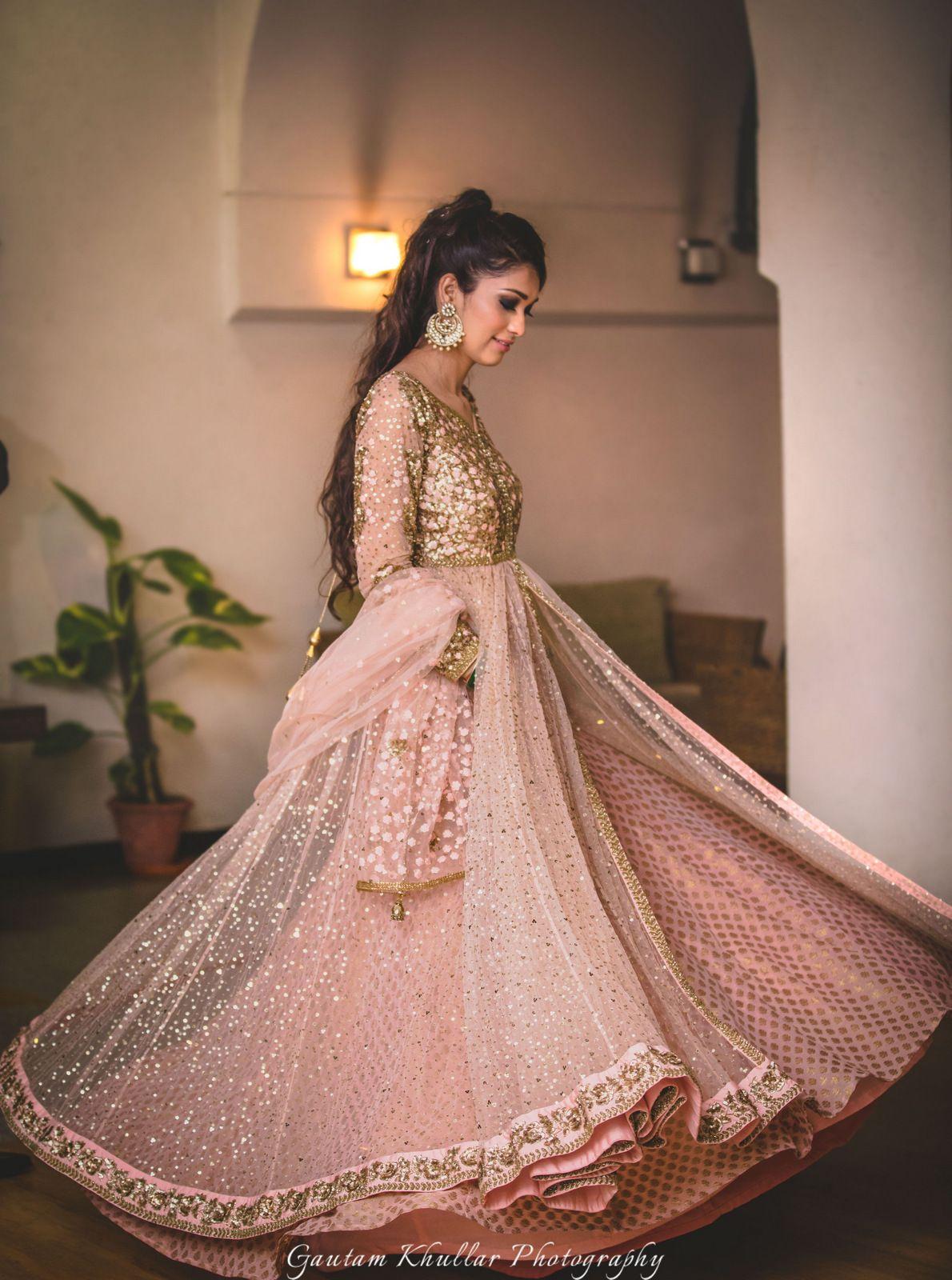 Designer Peach Anarkali Suit
