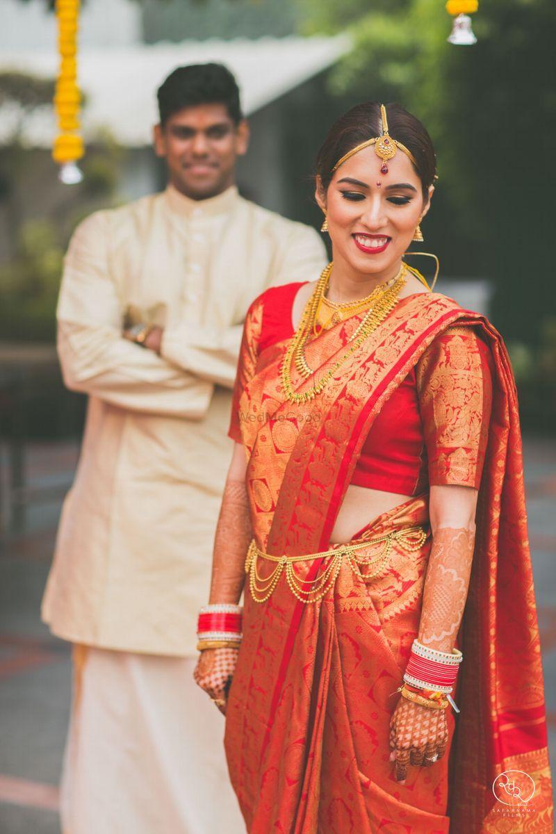 Orange bridal banarasi saree