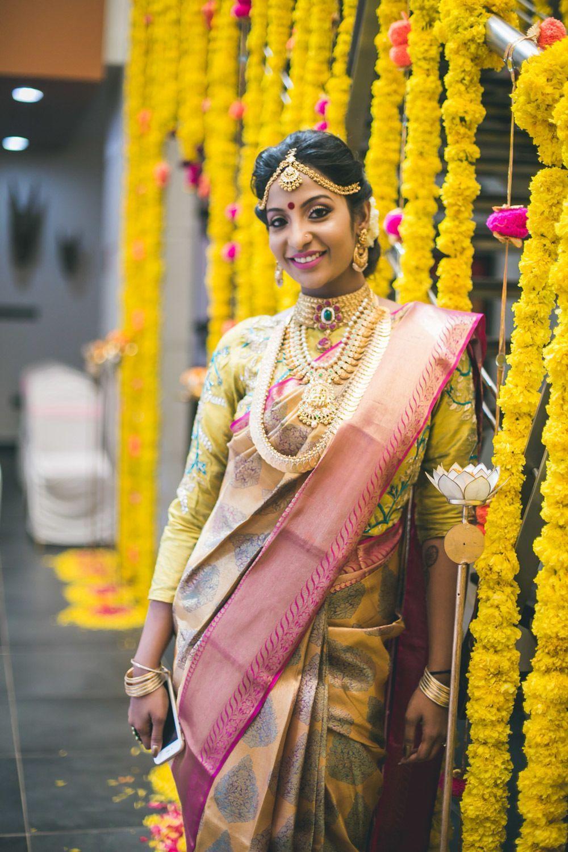 Yellow engagement kanjeevaram saree