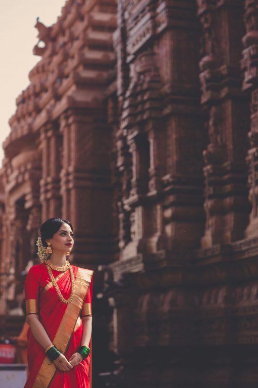 Bridal red kanjivaram saree