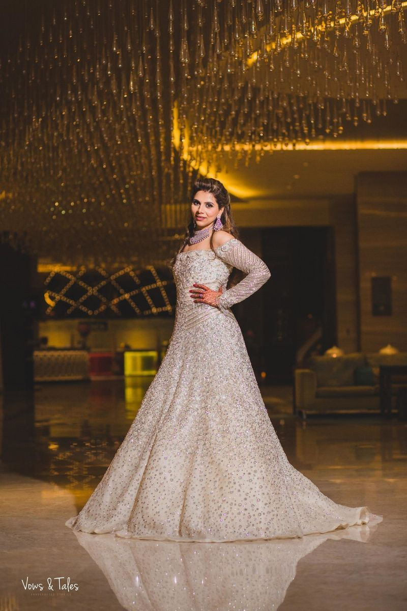 Ivory and silver bridal gown