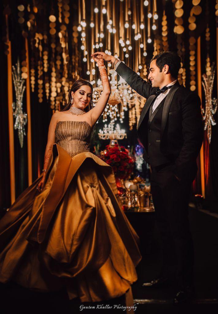Gold Off shoulder engagement gown