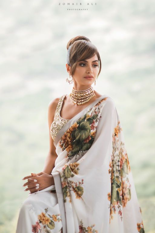 White Floral saree with shimmer dupatta