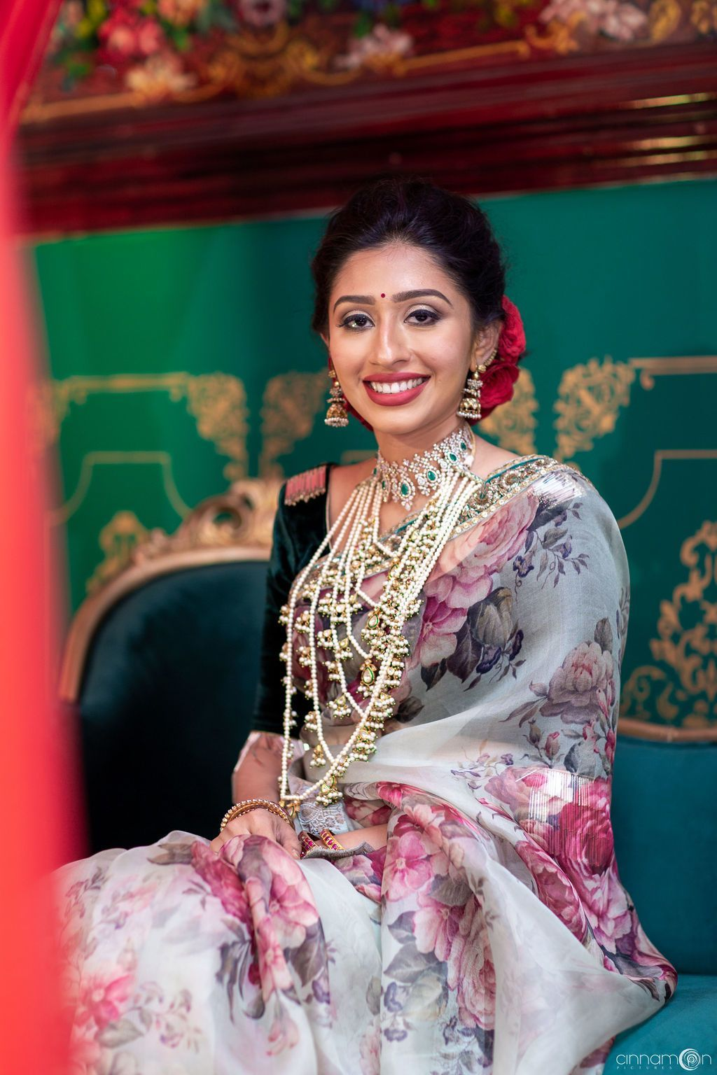 Printed engagement saree