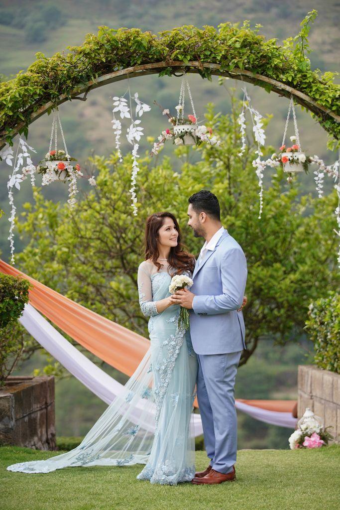 Sky Blue Saree for engagement