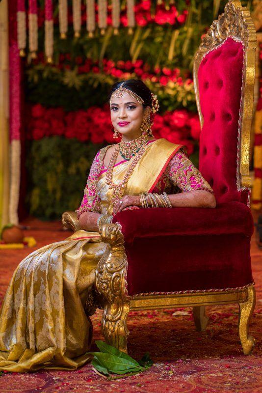 Fuchsia and golden bridal kanjeevaram saree