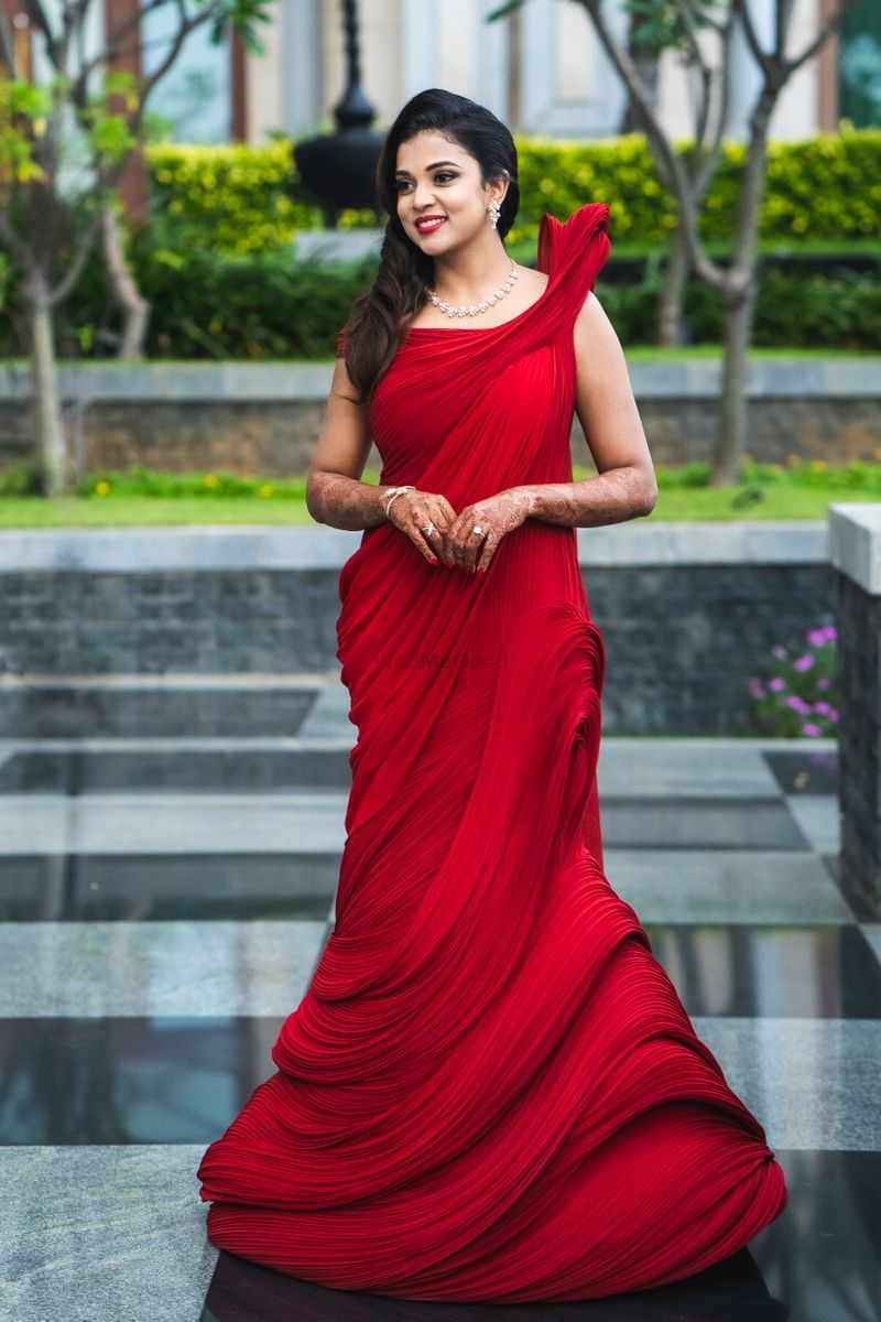Bridal red structured gown