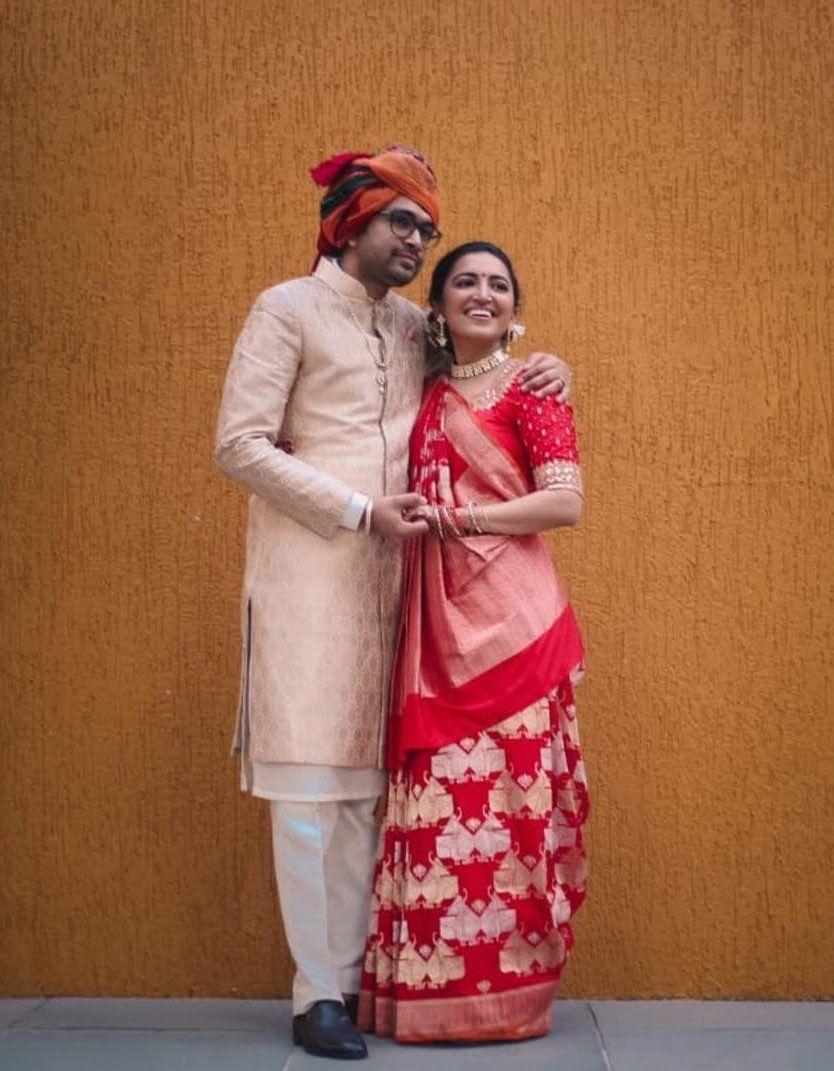 Banarasi saree with gujarati drape