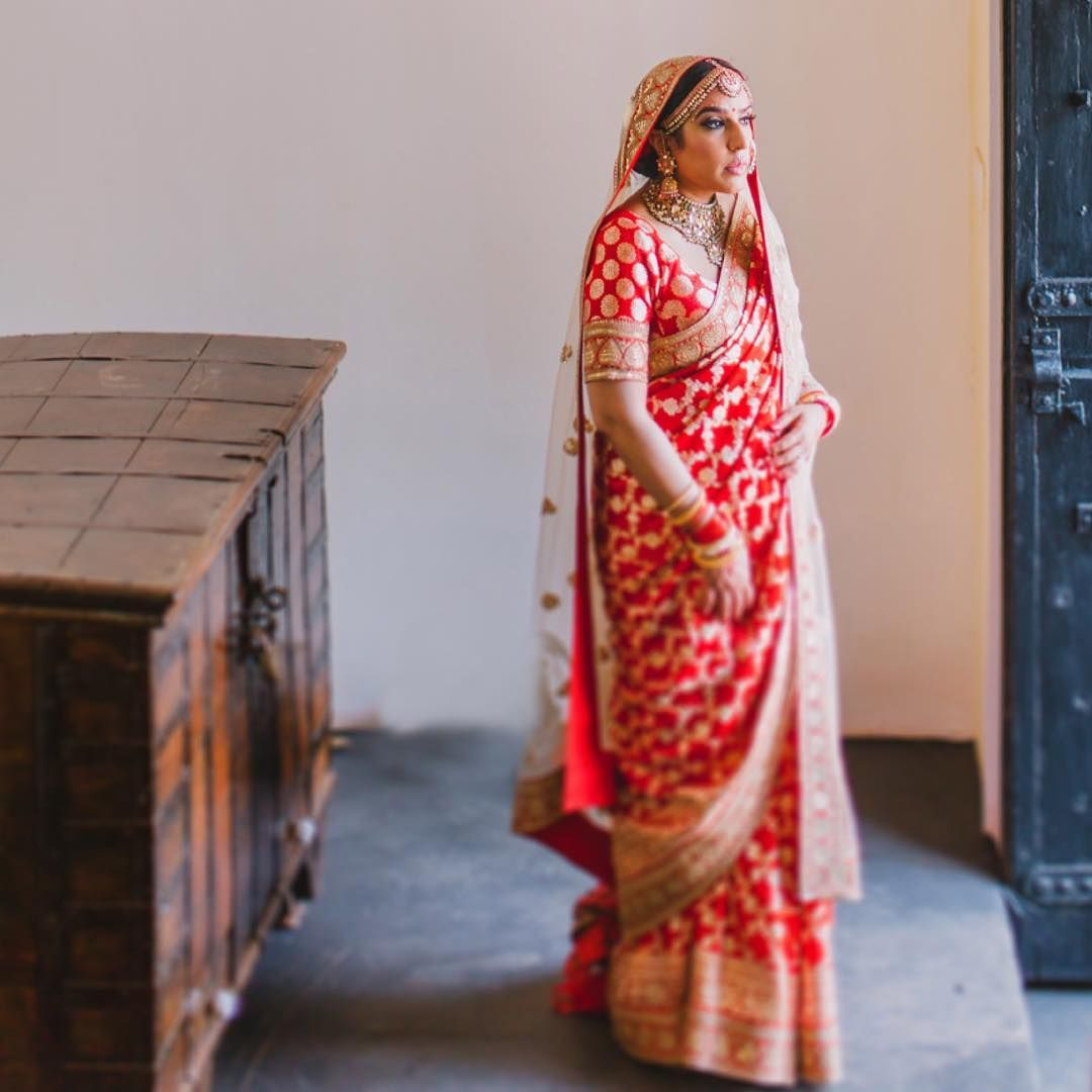 Printed bridal banarasi saree