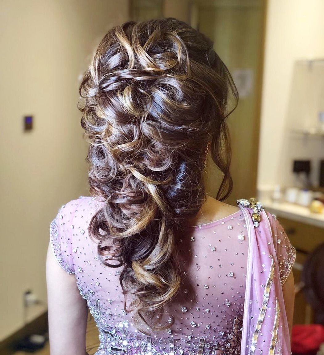 Half up half down engagement hairstyle