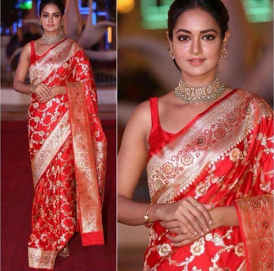Red Banarasi Saree with cut sleeve blouse
