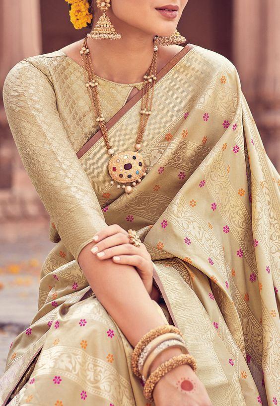 Golden Brocade work blouse with banarasi saree