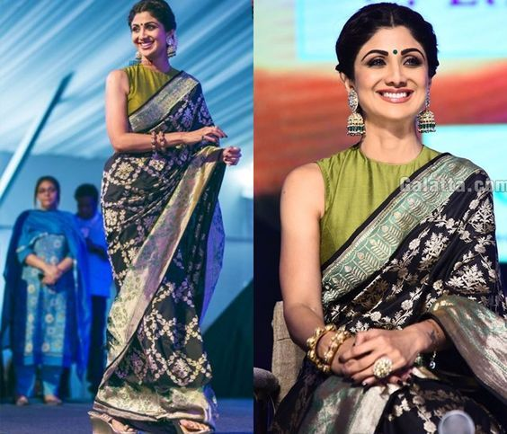 Shilpa Shetty's black banarasi saree