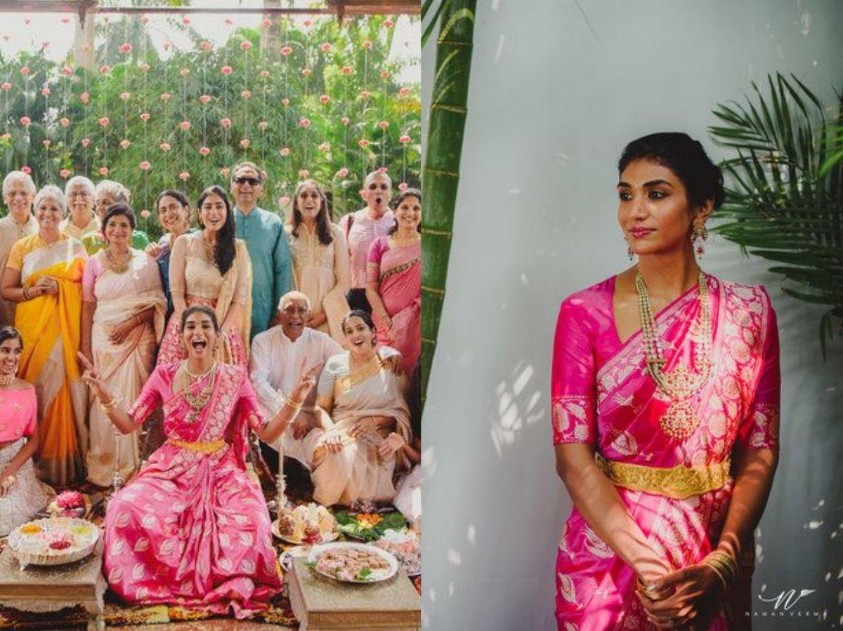 Bright Pink Bridal Banarasi Saree