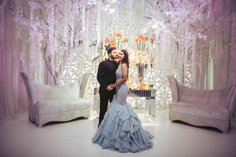 Grey ruffled bridal gown