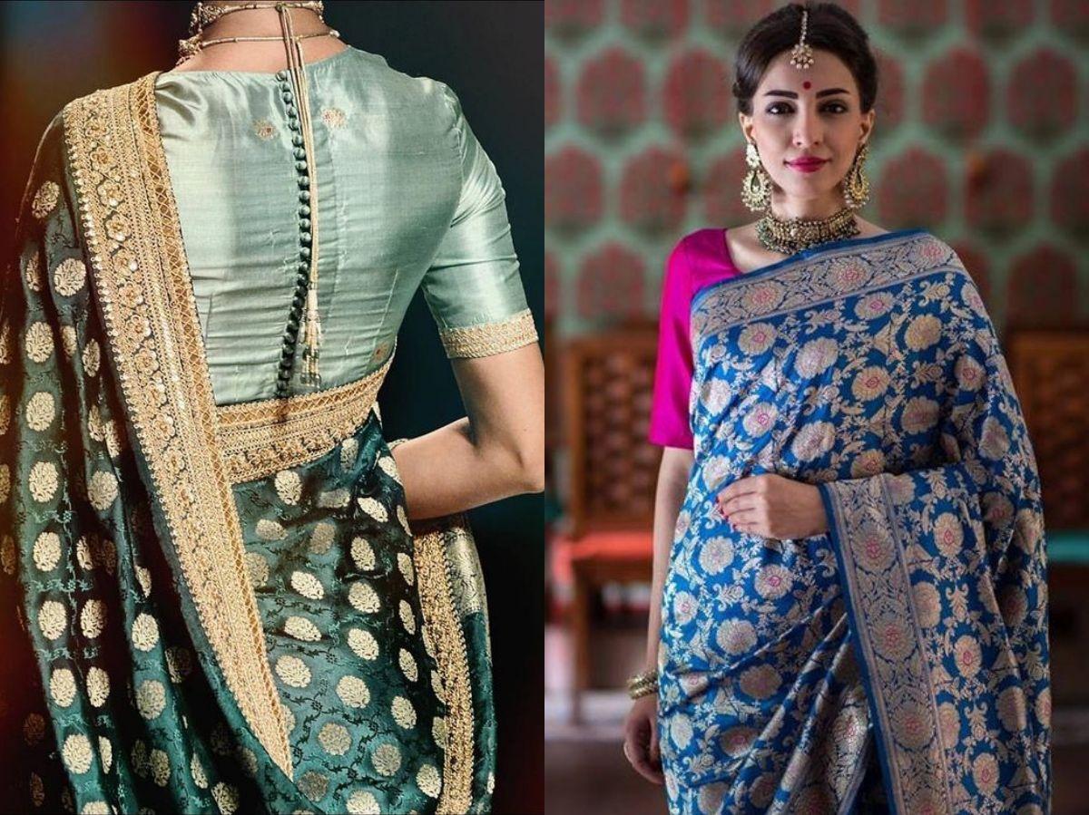 Contrasting blouse with Banarasi saree
