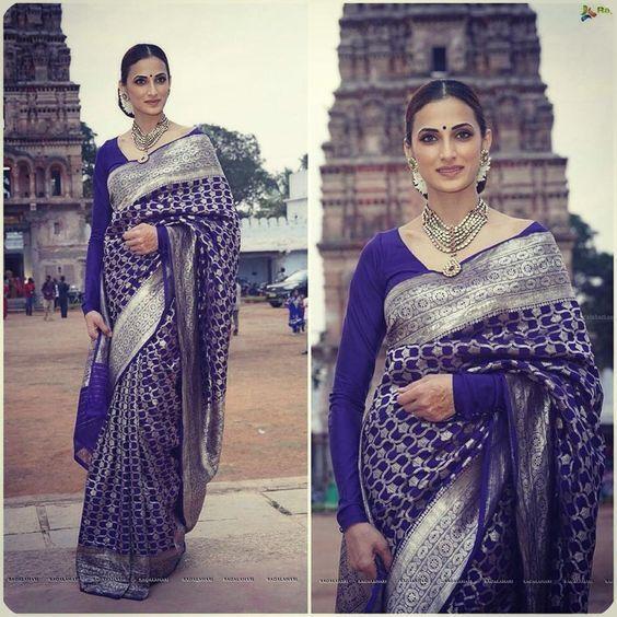 Full sleeve blue blouse with Banarasi saree