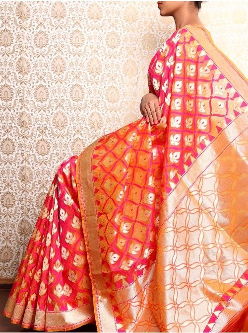Orange Cutwork Banarasi Saree