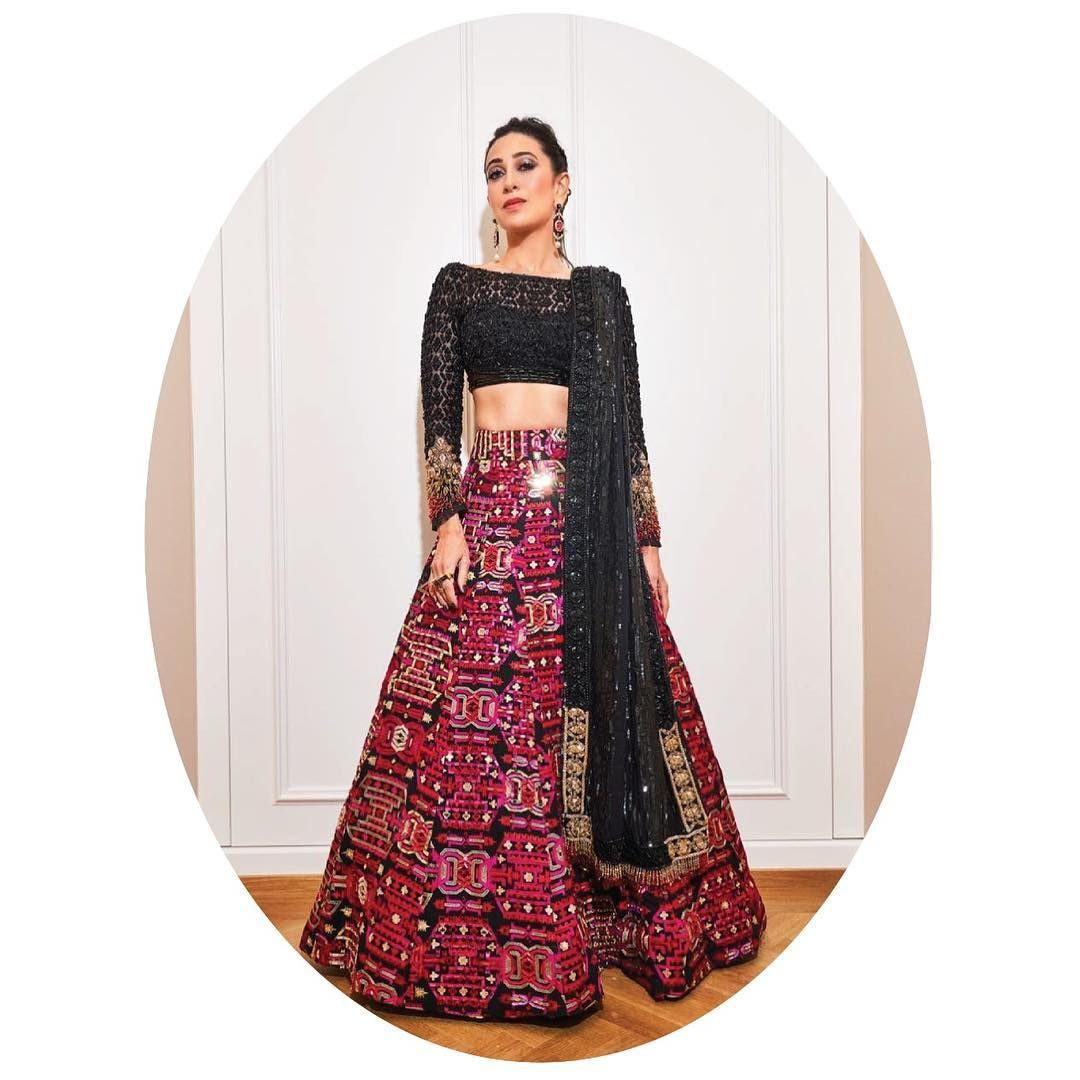 Karishma Kapoor Black and maroon phulkari lehenga