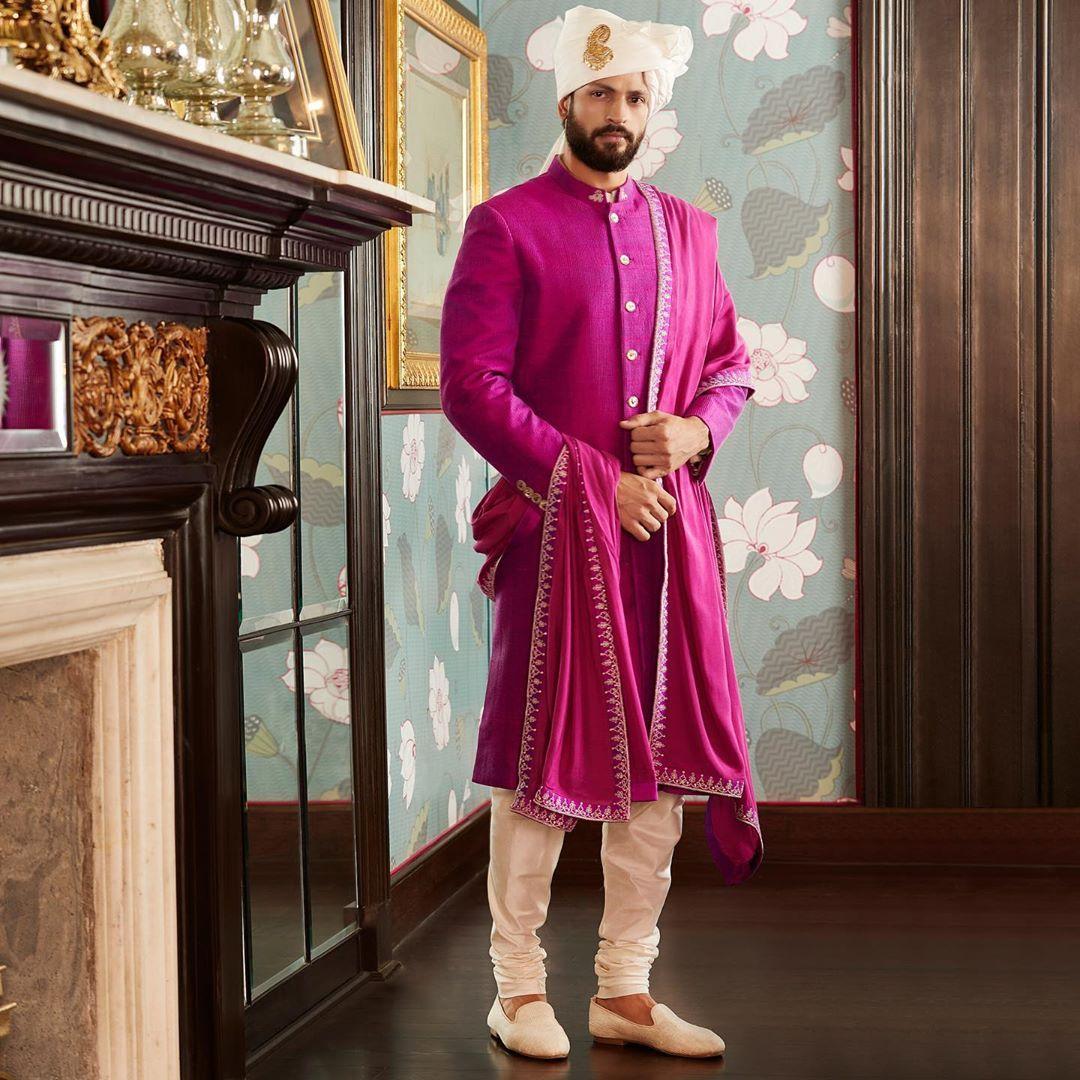Aubergine Sherwani for grooms