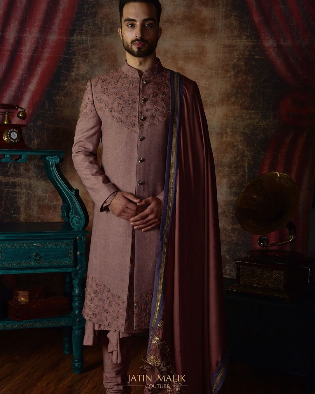 Dusty Pink Sherwani for grooms
