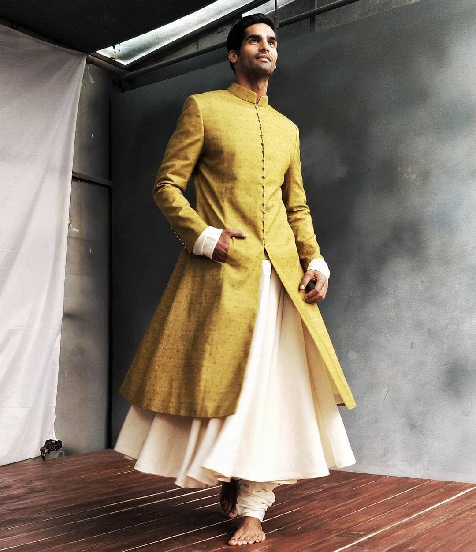 Lime Green Designer Sherwani