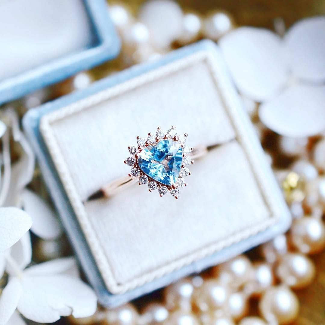 heart shaped solitaire aquamarine ring
