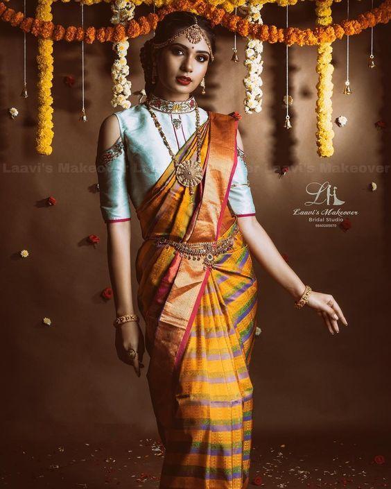 Cold Shoulder Blouses For Bridal Kanjeevarams