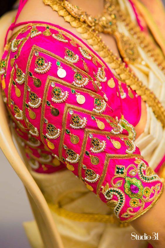 Kaasu Embellished South Indian Bridal Blouse