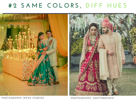 The Inside Guide To Co-ordinating Outfit Colors For Bride & Groom !