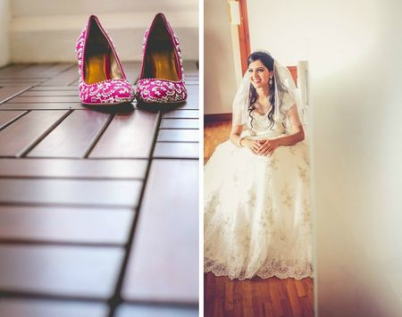 White  wedding with a pop of magenta in Kerala