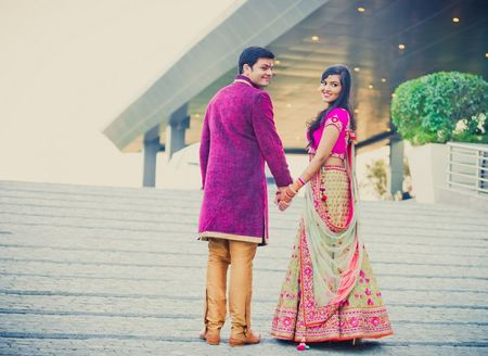 Hot pink and gold Engagement in Delhi