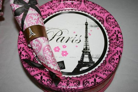 A pink and gold 'Paris' themed wedding shower