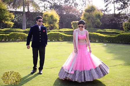 Dreamy pink and white engagement in Delhi