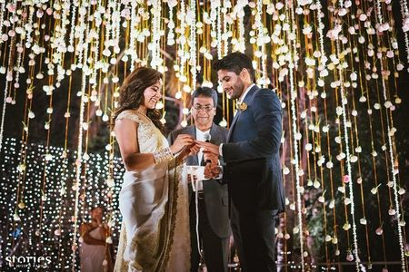 South Stars Get Hitched : Chaitanya and Samantha's Engagement With A 'Love Story' Saree !