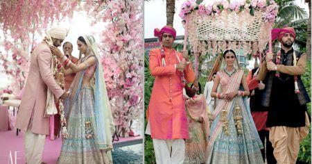 Turquoise & Pink Beach Wedding With A Bride In the Most Exquisite Lehenga.